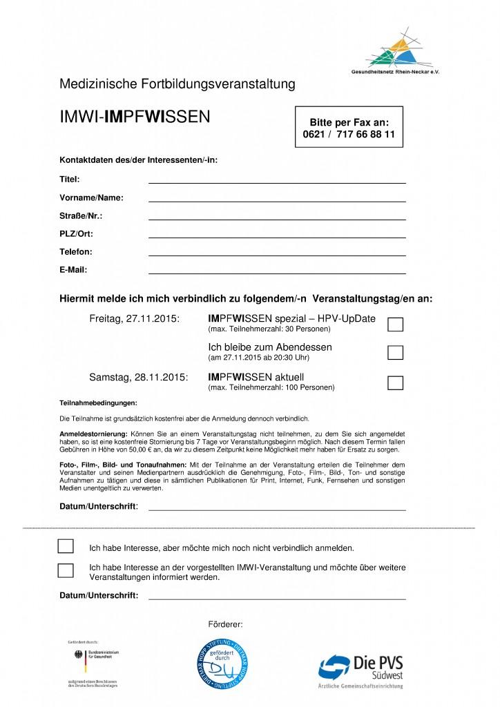 Anmeldeformular IMWI-IMpfWIssen